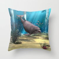 dolphin Throw Pillows featuring Dolphin by Design Windmill