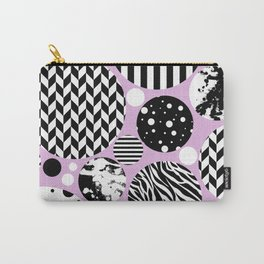 Eclectic Black And White Circles On Pastel Pink Carry-All Pouch