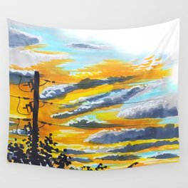 Suburban Sunset Wall Tapestry