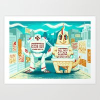 kaiju Art Prints featuring Rescue Kaiju by Good Afterwoon