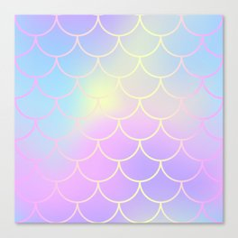 Pink Blue Mermaid Tail Abstraction Canvas Print