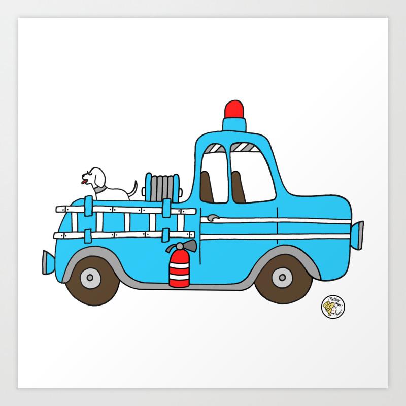 Firetruck Blue Vintage Fire Truck Art Print By Mellowdays Society6