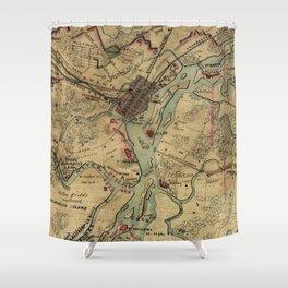 Vintage Savannah Georgia Civil War Map (1864) Shower Curtain