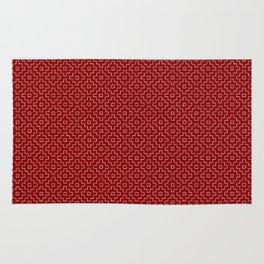 Persimmon Hitomezashi Sashiko - White on Red Rug