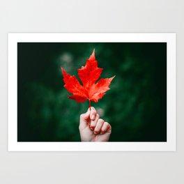Bright Red Leaf (Color) Art Print