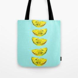 Lemon Slices Turquoise Tote Bag
