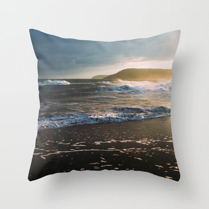 Misty Ocean #sunset Throw Pillow