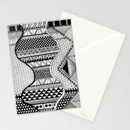 Wavy Geometric Patterns Stationery Cards