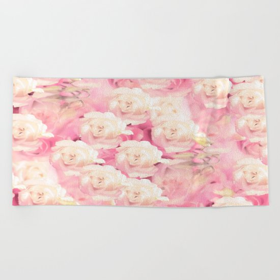White and pink flowers in summer romance - vintage style Beach Towel
