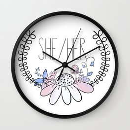 Pretty Pronouns: She/her Wall Clock