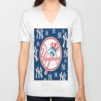 yankees V-neck T-shirts featuring NY YANKEES by I Love Decor