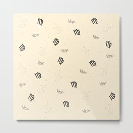 Virgo Pattern - Beige Metal Print