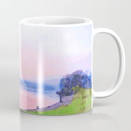 Calm Pink Sunset over Lake Windermere, Lake District, England Watercolor Painting Coffee Mug