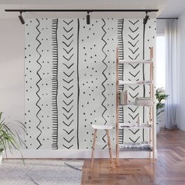 Moroccan Stripe in Cream and Black Wall Mural
