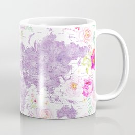 Purple watercolor floral world map with cities Coffee Mug