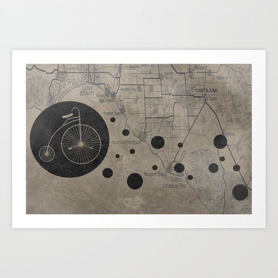 Bike Map Art Print