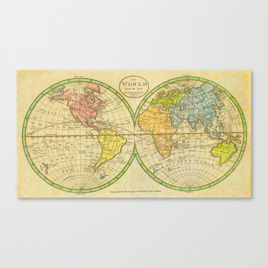 Vintage World Map 1798 Canvas Print