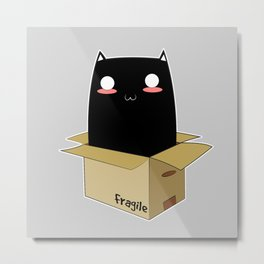 Black Cat in a Box Metal Print