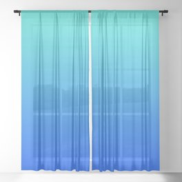 Bright Turquoise Blue Lagoon Ombre Sheer Curtain