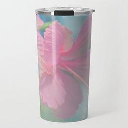 Tender macro shoot of pink hibiscus flowers Travel Mug