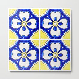 Yellow and Blue Mexican Tile Metal Print