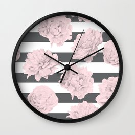 Rose Garden Stripes Pink Flamingo on Storm Gray and White Wall Clock