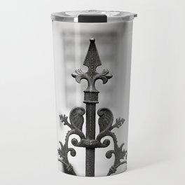 New Orleans Marigny Black and White Fence Travel Mug