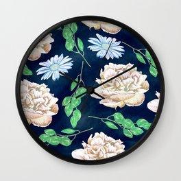 Rose Garden Navy Blue Antique Floral Pattern Wall Clock