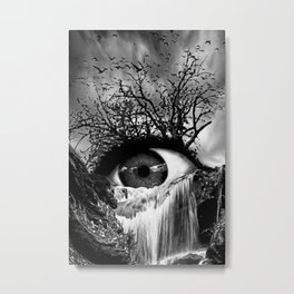 Cascade Crying Eye grayscale Metal Print