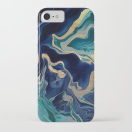 DRAMAQUEEN - GOLD INDIGO MARBLE iPhone Case