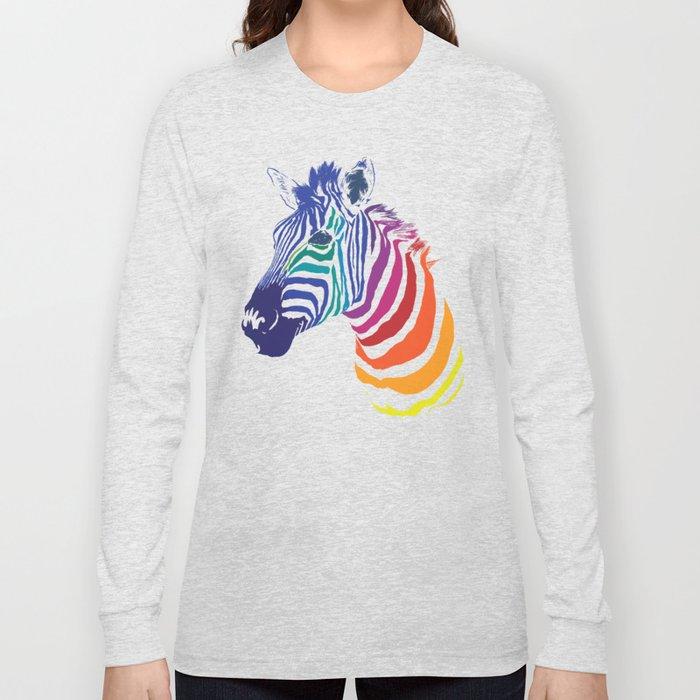 Rainbow Zebra Colorful Animals Whimsical Art Long Sleeve T-shirt