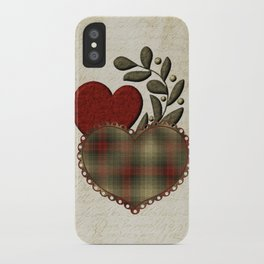 Red & Green Plaid Heart Love Letter iPhone Case