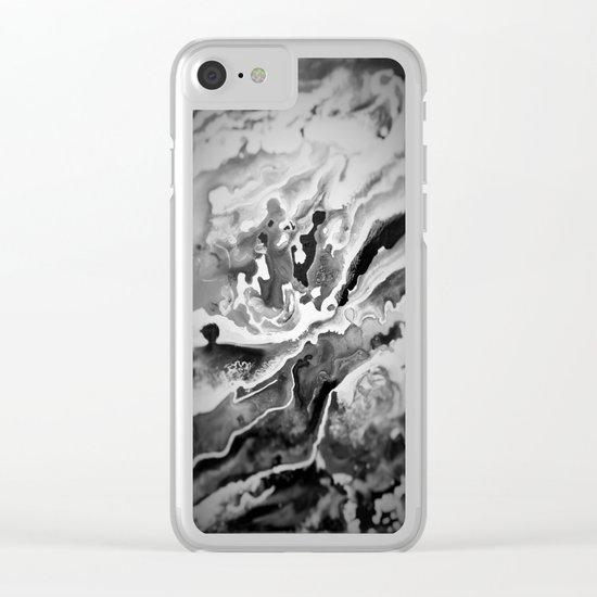 Deep Sea Black Focus Marble Clear iPhone Case