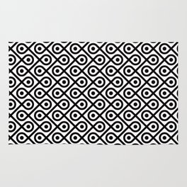 Geometric Pattern #197 (dots loops black) Rug
