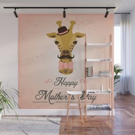 Happy Mother's Day ~ Giraffe Wall Mural