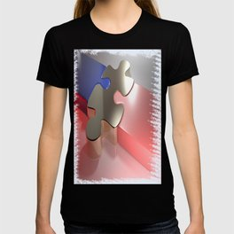 Golden puzzle joins blue and pink puzzle pieces - 3D rendering T-shirt