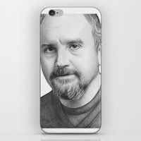 louis ck iPhone & iPod Skins featuring Louis CK Portrait by Olechka