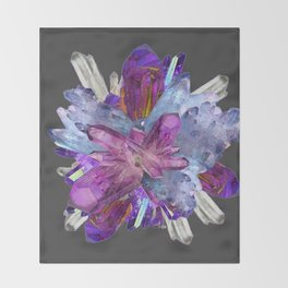 CRYSTALLINE RADIATING CLUSTER OF AMETHYST & QUARTZ Throw Blanket