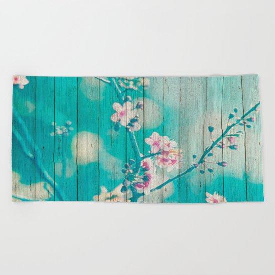 Sweet Flowers on Wood 01 Beach Towel