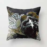 seashell Throw Pillows featuring seashell by MehrFarbeimLeben