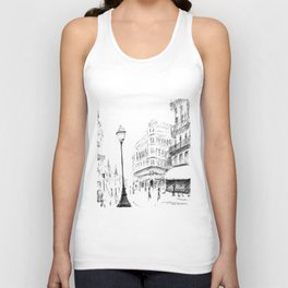 Sketch of a Street in Paris Unisex Tank Top