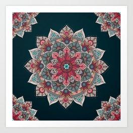 Winter holidays doodles mandala design Art Print