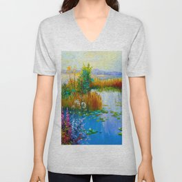 Flowers by the pond Unisex V-Neck