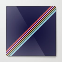 Bathala - Minimal Classic 80s Style Graphic Design Stripes Metal Print