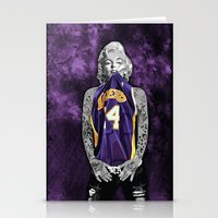 lakers Stationery Cards featuring Marilyn Monroe Los angeles Lakers with tattoos by Three Second