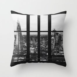 London England Skyline Views in Black and White Throw Pillow