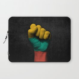Lithuanian Flag on a Raised Clenched Fist Laptop Sleeve
