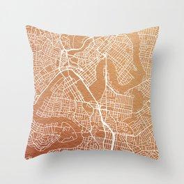 Rose gold Brisbane map Throw Pillow