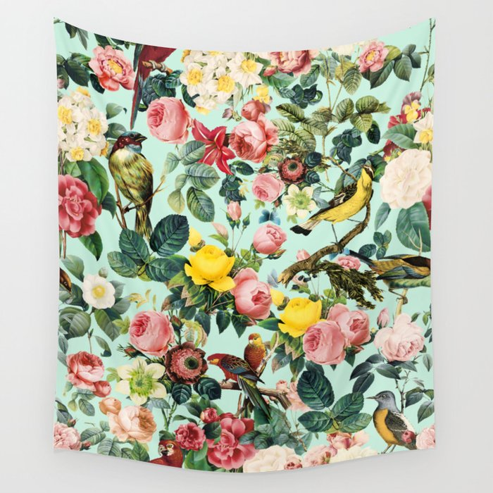 Floral and Birds III Wall Tapestry