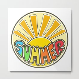 Summer ticker, Summer design, beach sticker, colorful sticker, sunshine Metal Print